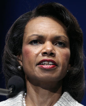 U.S. Secretary of State Condoleezza Rice delivers remarks at the American Israel Public Affairs Committee (AIPAC) conference in Washington June 3, 2008.