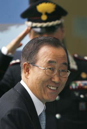 United Nations Secretary General Ban Ki-moon arrives at a U.N. crisis summit on rising food prices at the Food and Agriculture Organisation (FAO) in Rome June 3, 2008.