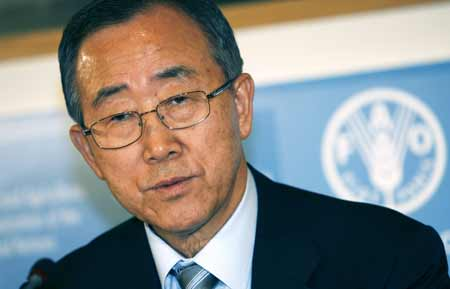 United Nations Secretary General Ban Ki-moon speaks during a press conference at a U.N. crisis summit on rising food prices at the Food and Agriculture Organisation (FAO) in Rome June 4, 2008.