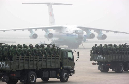 The Chinese People's Liberation Army (PLA) launched its first drill for deploying long-range air drops in civilian emergency situations on Wednesday.