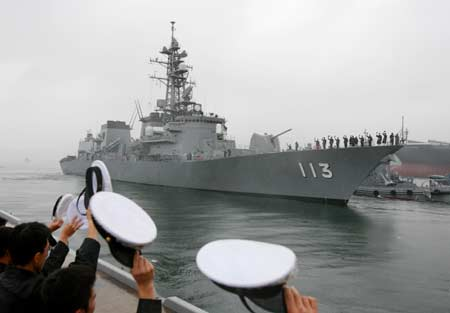 "Soldiers of the Japanese Maritime Self-Defense Force (MSDF) see off the destroyer ""Sazanami"" at Kure, Hiroshima Prefecture, Japan, on June 19, 2008. The Japanese MSDF destroyer, which is the first vessel by the MSDF to call on China, set off on Thursday morning for a visit to the southern Chinese port of Zhanjiang, Guangdong Province. ""Sazanami"" was scheduled to arrive at the Chinese port on June 24 and stay there for five days."