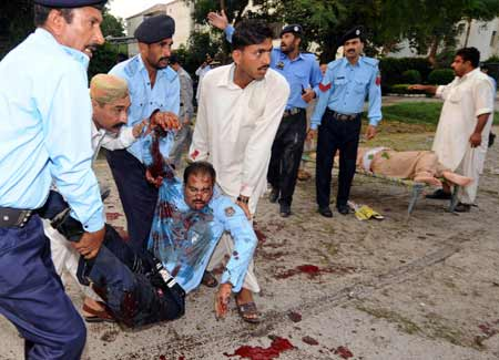 At least ten policemen were killed in a blast in Pakistani capital Islamabad on Sunday evening, local TV channels reported.