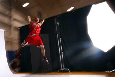 Chicago Bulls rookie Derek Rose, the number one overall pick in the 2008 NBA Draft, is photographed by trading card company Upper Deck during the 2008 Rookie Photo Shoot in Tarrytown, New York, July 29, 2008.