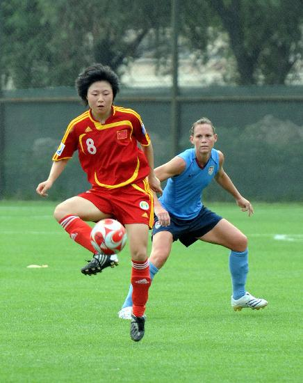 Chinese national team member Xu Yuan in an Olympic warm-up with US in Qinhuangdao on Wednesday.