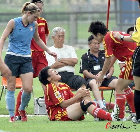 Star striker Ma Xiaoxu, playing as a starter, was injured in an Olympic warm-up with US in Qinhuangdao on Wednesday.