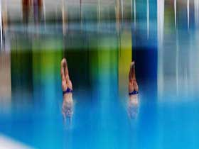 British Olympic diving team training for Olympics