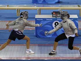 Members of the Ukraine national fencing team practise.