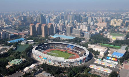 The aerial photo taken on August 2, 2008 shows the Beijing Workers' Stadium in Beijing, China. The men's and women's football competition of the Beijing 2008 Olympic Games will be held there. (Xinhua/Chen Kai) 