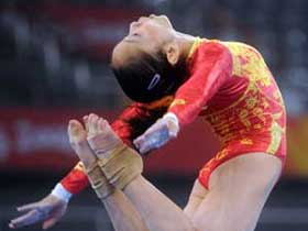 Chinese women's gymnastics team practises for Olympics