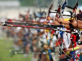 Olympic archers from all teams gathered at the archery field of Olympic Park, having a last adaptation test training before the Olympics to open tomorrow evening [CFP]