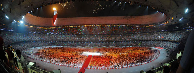 The opening ceremony of the 29th Olympic Games started at 8 PM Friday in the National Stadium in Beijing.