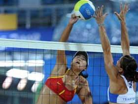China beats Greece in beach volleyball