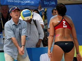 US President George W. Bush visits the Chaoyang Park Beach Volleyball venue at the Olympics on Saturday, August9, 2008.