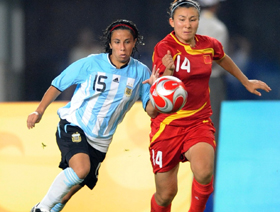 China downs Argentina 2-0 in Olympic women's soccer