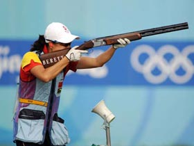 Chinese Wei Ning competes at women's skeet qualification