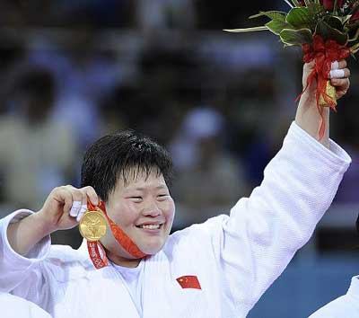 Tong Wen of China wins women's over 78kg judo gold. [Xinhua]