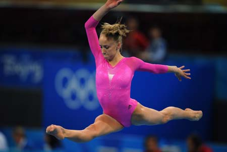 Nastia Liukin of the United States performs on the balance beam during gymnastics artistic women's individual all-round final of Beijing 2008 Olympic Games at National Indoor Stadium in Beijing, China, Aug. 15, 2008. Liukin claimed the title of the event with a score of 63.325. (Xinhua/Cheng Min)