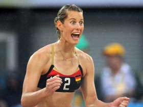 Germany beats Greece in beach volleyball preliminary