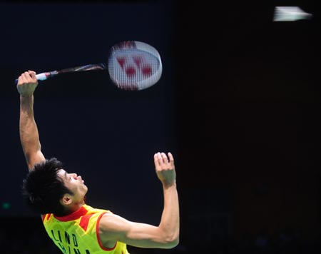  Lin Dan of China competes during the men&#38;apos;s s singles gold medal match of the Beijing 2008 Olympic Games badminton event in Beijing, China, Aug. 17, 2008. Lin Dan won the match over Lee Chong Wei of Malaysia and got the gold medal. 