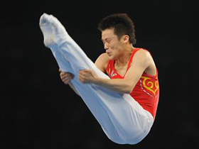 Lu Chunlong wins men's trampoline gold