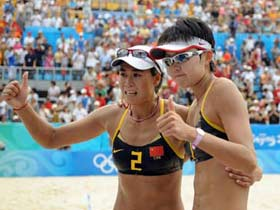 China's Tian/Wang in women's beach volleyball final