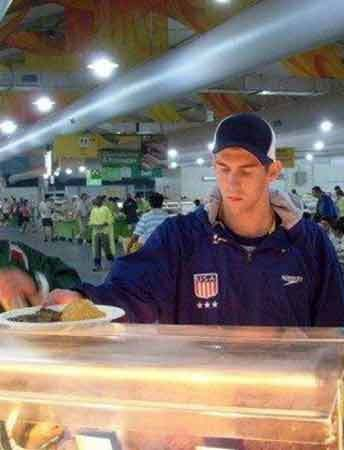 Michael Phelps in the Beijing Olympic Village