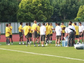 Players of Brazil are in the training.