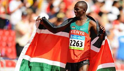 S. Wansiru of Kenya wins men's marathon gold medal at Beijing Olympic at 2:06:32 on August 24,2008.