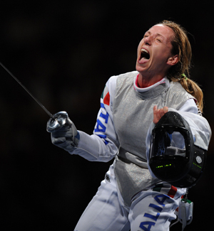 Maria Valentina Vezzali of Italy jubilates during Women's Team Foil Bronze Medal Match against Hungary of the Beijing 2008 Olympic Games fencing event in Beijing, China, Aug. 16, 2008. Italy beat Hungary 32-23 and claimed the bronze.