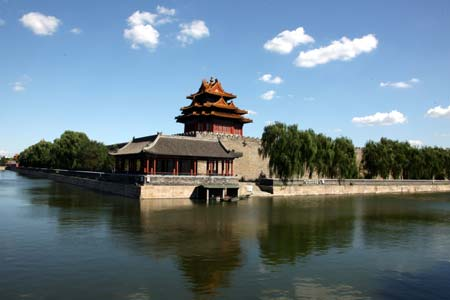 A Corner Tower On The Rampart Surrounding Ancient Forbidden City Is Reflected In Moat Central Beijing China Aug 31 2008
