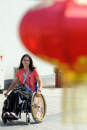 An athlete visits the Paralympic Village in Beijing on September 5, 2008. Athletes and delegates from all over the world gathered in Beijing to attend the Beijing 2008 Paralympic Games which will be opened on September 6, 2008.
