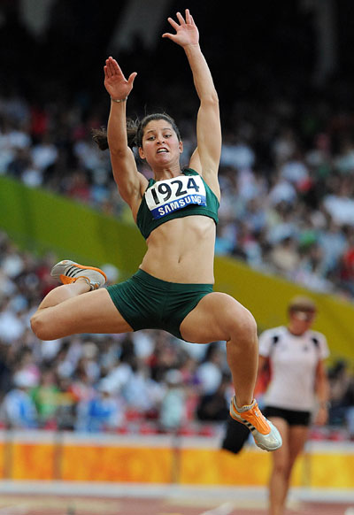 Ilse Hayes of South Africa competes.[Xinhua]