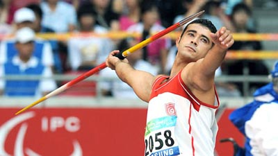 Faouzi Rzig of Tunis wins Men's Javelin Throw F33/34/52 gold