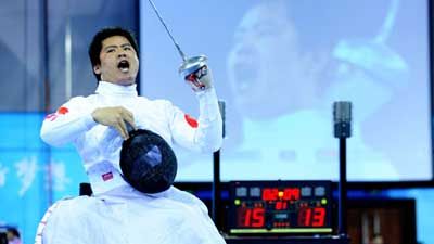 China's Hu Daoliang wins Men's Ind Epee - Cat. B gold