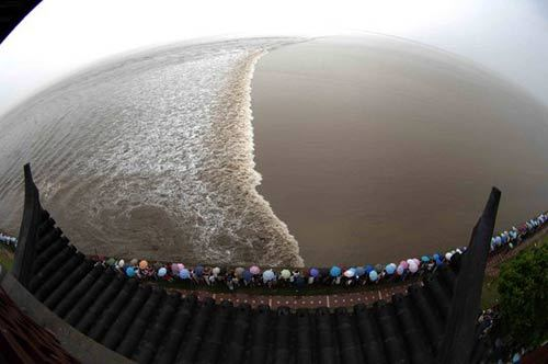 A view of the tidal bore in Qiantang River in Haining, Zhejiang Province on Monday, September 15, 2008. [Photo: people.com.cn]