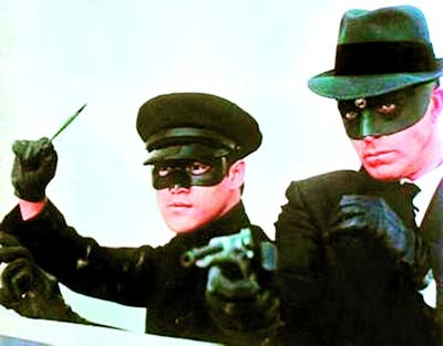 A still of the classic television series The Green Hornet starring Van Williams (right) and Bruce Lee.