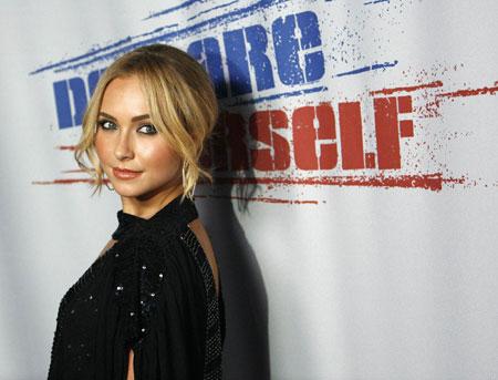 Actress Hayden Panettiere poses at Declare Yourself's 'Last Call' party in Hollywood, California September 24, 2008.