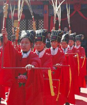 A ceremony at the ancient home of Confucius got the ceremonies underway, Sunday morning in eastern Shandong.