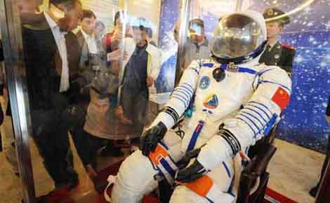 Spacewalker's space suit on display