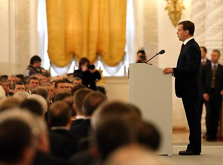 Russian President Dmitry Medvedev (R) delivers his first State of the Nation address to the Federal Assembly Kremlin in Moscow, capital of Russia, Nov. 5, 2008.