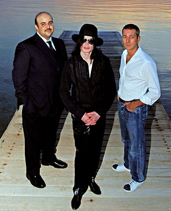 Sheikh Abdullah Bin Hamad Al Khalifa, Michael Jackson and Guy Holmes, the then appointed CEO for the two's joint-venture 2 Seas Records.