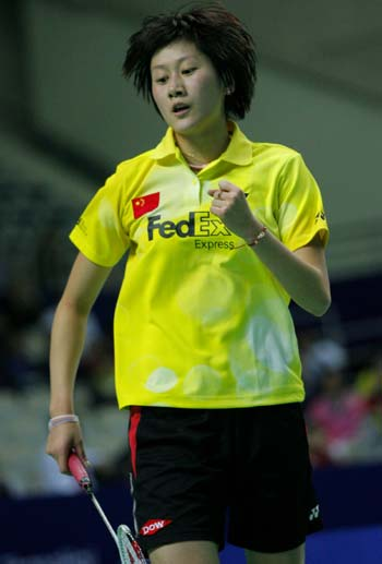 China's Zhu Lin celebrates a point at the ongoing China Open Badminton event in Shanghai November 19, 2008. [Xinhua]