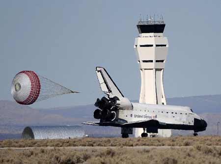 during a space shuttle landing a parachute deploys - photo #26