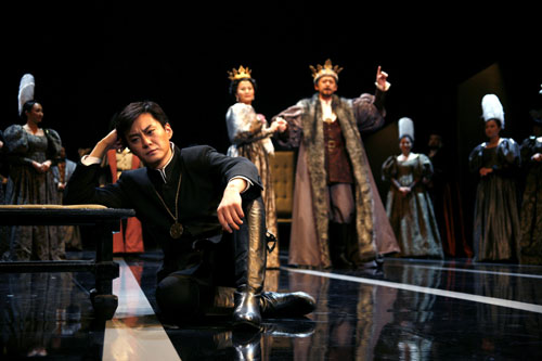 A scene from Japanese director Keita Asari's 'Hamlet', starring Chinese actor Wang Ban.