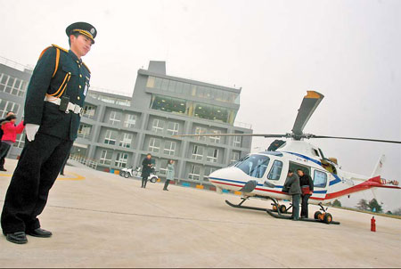 A security guard on duty at China's first private heliport in Nanjing, the capital of Jiangsu province, on Saturday.