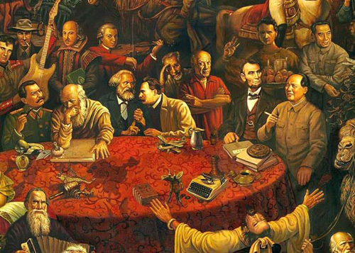Part of the painting, titled Discussing the Divine Comedy with Dante. Chairman Mao Zedong appears smoking by a round table in the center, with Chinese Premier Zhou Enlai standing behind him.