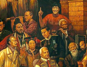 Part of the painting, titled Discussing the Divine Comedy with Dante, with Chinese hurdler Liu Xiang standing in the corner.