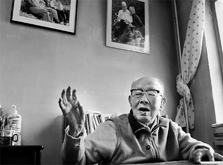 Zhou Youguang's hearing may be poor, but he has never stopped writing.
