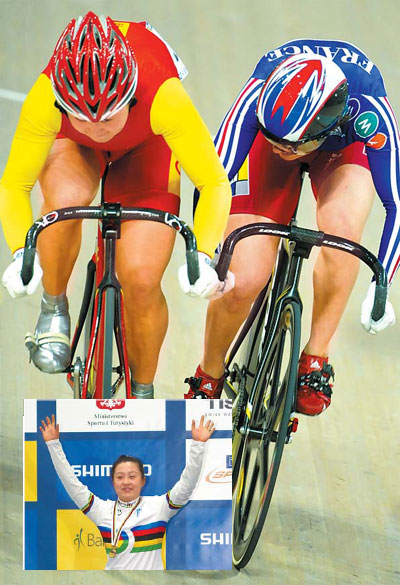 Above: China's Guo Shuang (left), winner of the Women's Keirin, holds off Clara Sanchez of France who placed second at the World Track Cycling Championships at Pruszkow, near Warsaw, Poland, on Sunday. (Inset): Gold medalist Guo celebrates on the podium during the medal ceremony. [AP]