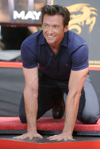 Hugh Jackman is seen during a ceremony where the actor places his hand and foot prints in cement in front of the Grauman's Chinese Theatre in Hollywood April 21, 2009.